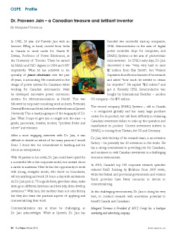 An article about Dr. Praveen Jain in the Ontario Society of Professional Engineers Magazine