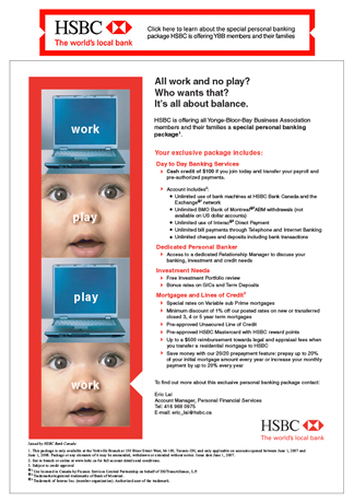 Advertising - Financial institute HSBC using a banner and full-page advertisment
